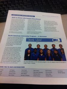 The intern group in the company newsletter.