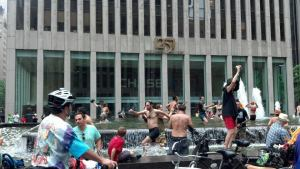 Unrelated photo of a fountain protest party.